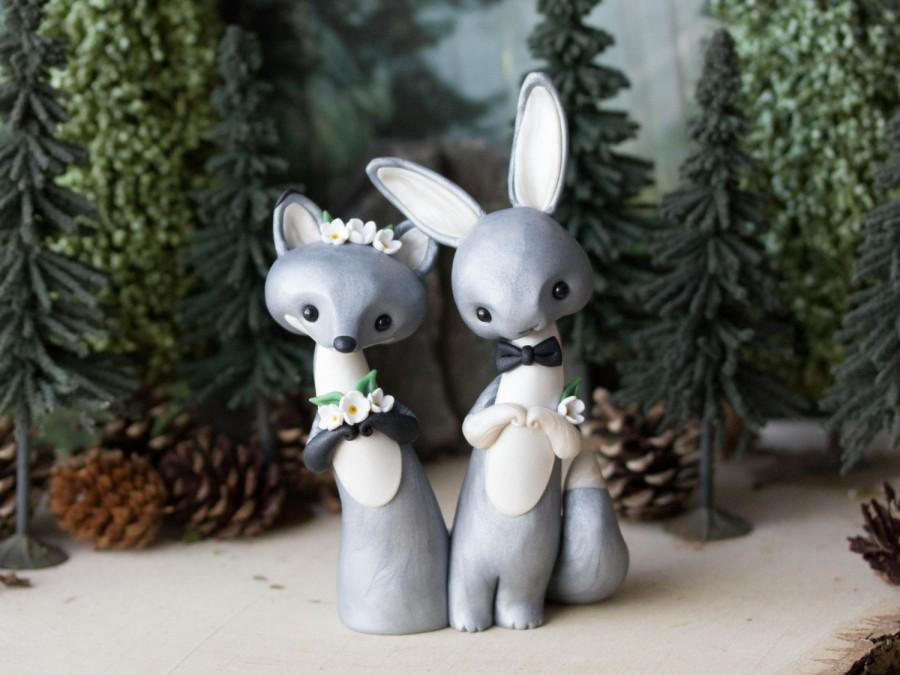 Mariage - Silver Fox and Grey Hare Wedding Cake Topper by Bonjour Poupette