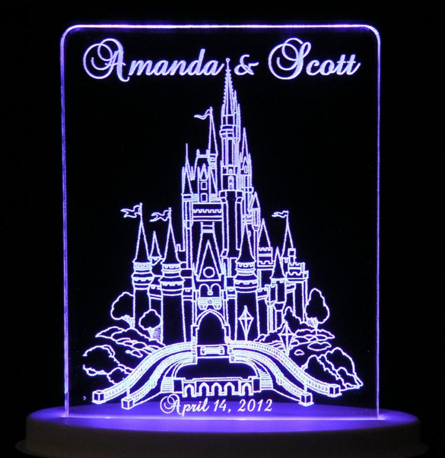 Свадьба - Fairytale Castle Wedding Cake Topper  - Engraved & Personalized - Light Extra