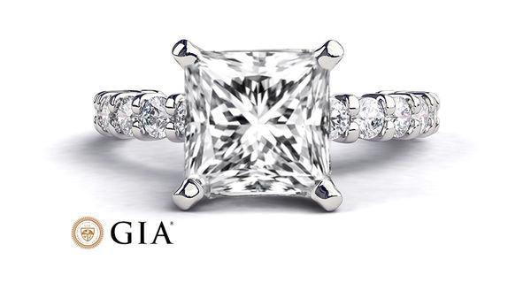 Mariage - 1.92 CT Princess Diamond Ring, 14K White Gold Ring, Diamond Engagement Ring, GIA Diamond, Unique Engagement Ring