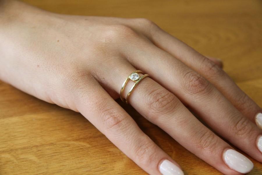 Mariage - Diamond Engagement Ring, Unique Diamond Ring, 14K Gold Ring, Solitaire Engagement Ring, 0.25 CT Unique Diamond Ring Band