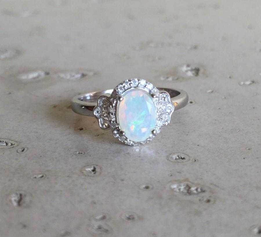 Mariage - Art Deco Engagement Ring- Opal Ring- Promise Ring- Wedding Ring- Sterling Silver Ring- Statement Ring- Ring- Unique Engagement Ring