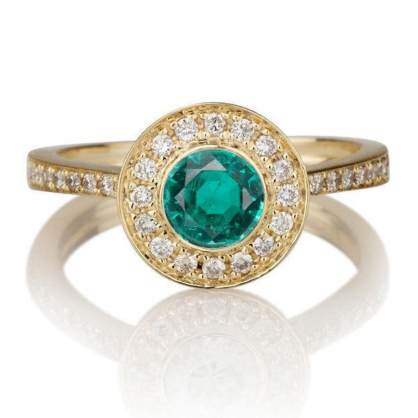 Mariage - Bezel Ring, 14K Gold Halo Engagement Ring, 1.12 TCW Natural Emerald Ring Band, Unique Rings, Bezel Engagement Ring