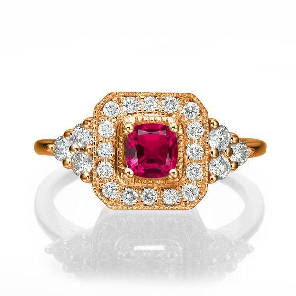 Mariage - Rose Gold Engagement Ring, Halo Ring, 18K Rose Gold Ring, 0.84 TCW Ruby Ring Vintage, Art Deco Engagement Ring, Ruby Ring Gold