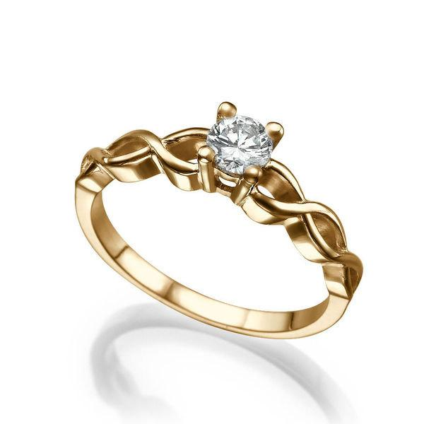Mariage - Braided Diamond Engagement Ring, 14K Rose Gold Ring, Solitaire Engagement Ring, 0.42 CT Diamond Ring Band, Art Deco Ring