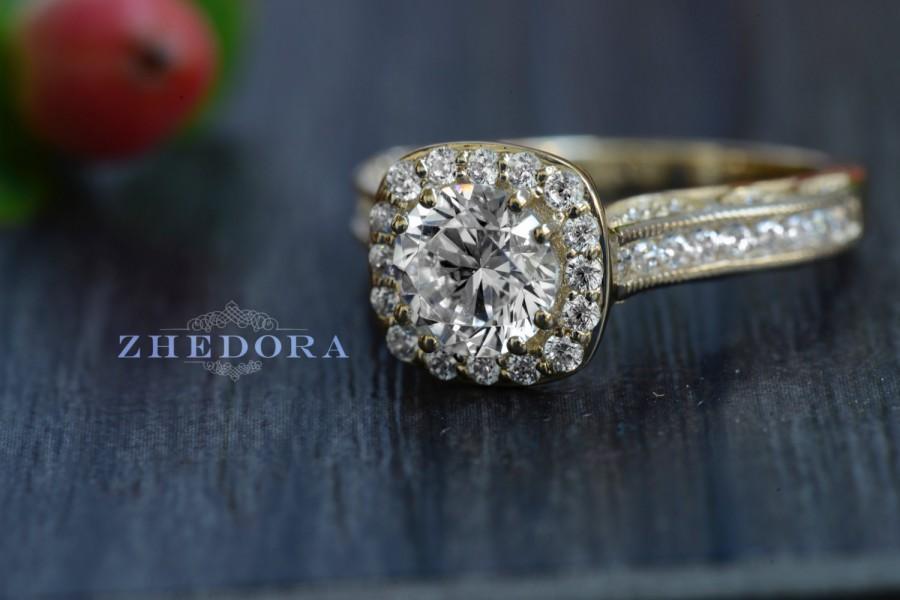 Mariage - 2.70 CT Engagement Ring Round Cut halo 14k SOLID Yellow Gold Bridal Band Unique Bridal Band, Lab Created Diamond Filigree band