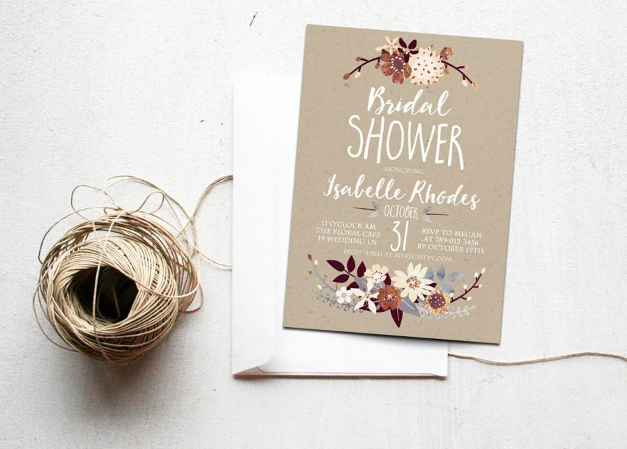 Wedding - Fall Bridal Shower Invitation Printable, Autumn Floral Invite, Boho Chic, Rustic Bronze, Silver, Cream, Neutral Colors, Kraft Paper