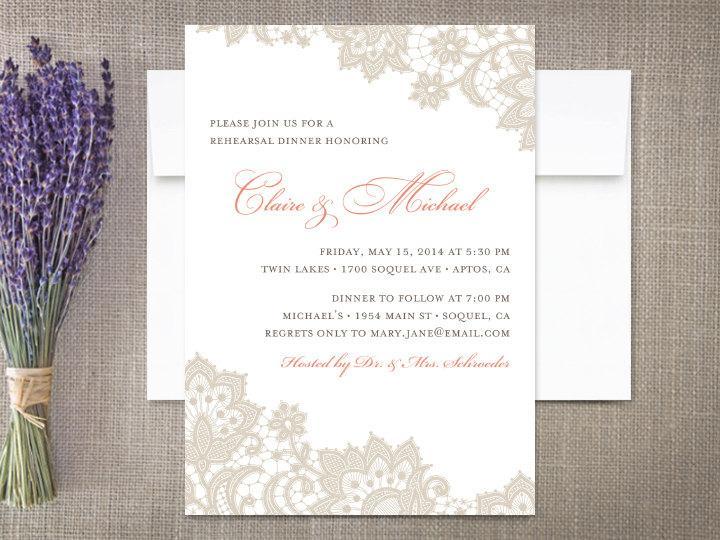 Wedding - Lace Wedding Rehearsal Invitations
