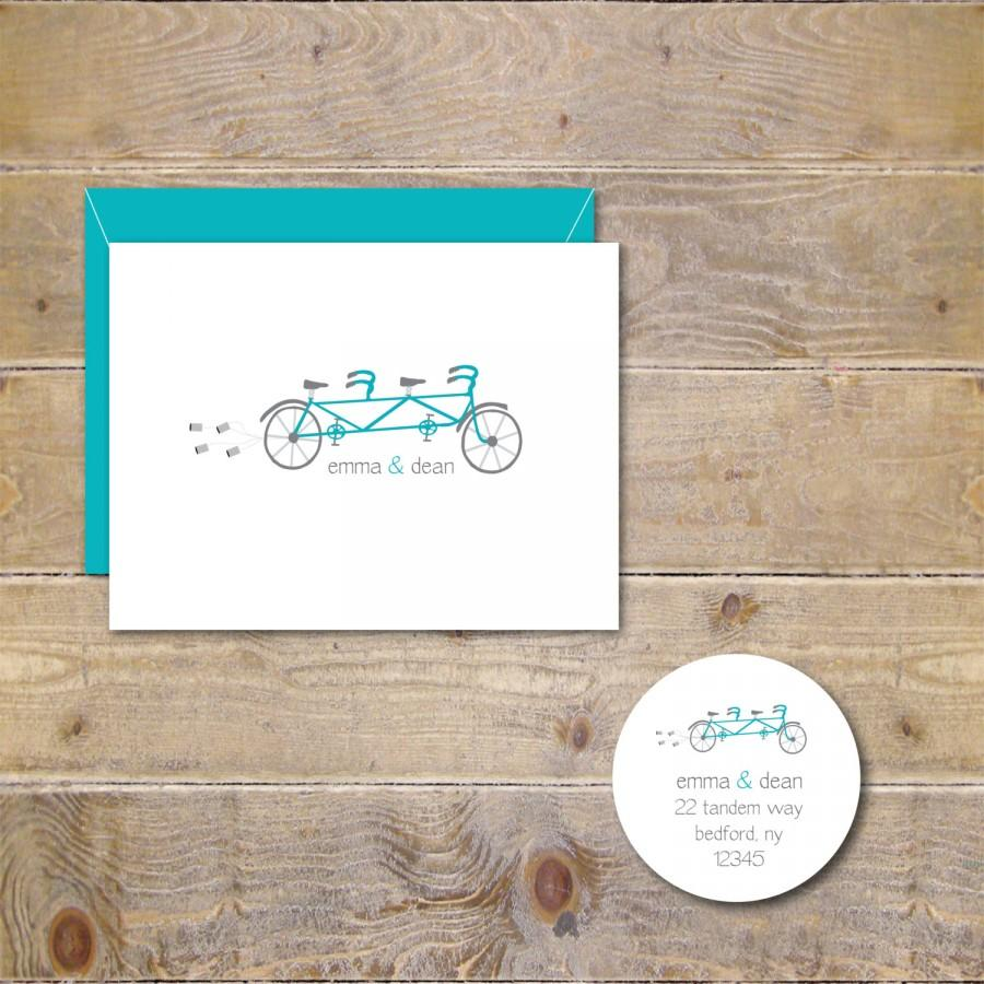Wedding - Wedding Thank You Cards, Tandem Bicycle, Tandem Bike, Wedding, Thank You Notes, Just Married, Bikers, Bike for Two, Wedding Thank You Notes