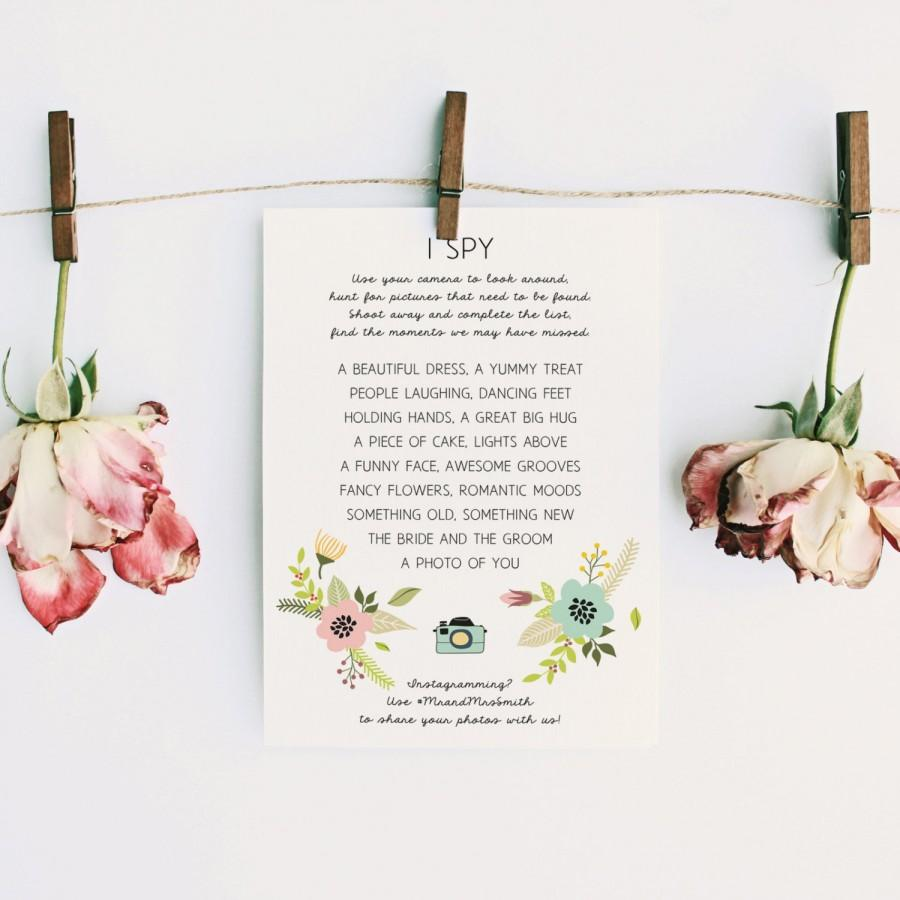 CAROLINE: Editable Wedding I Spy Game - Boho Chic Floral Wedding ...