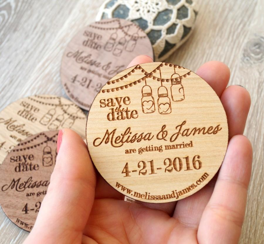 Wooden Save The Date Magnets Mason Jar Design Wood Engraved Rustic Dates