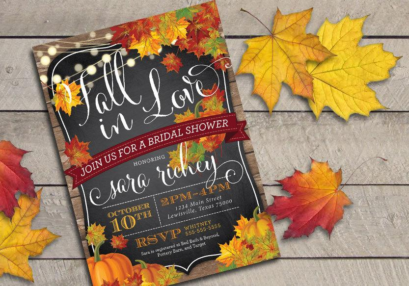 زفاف - Printable Fall in Love Bridal Shower Invitation