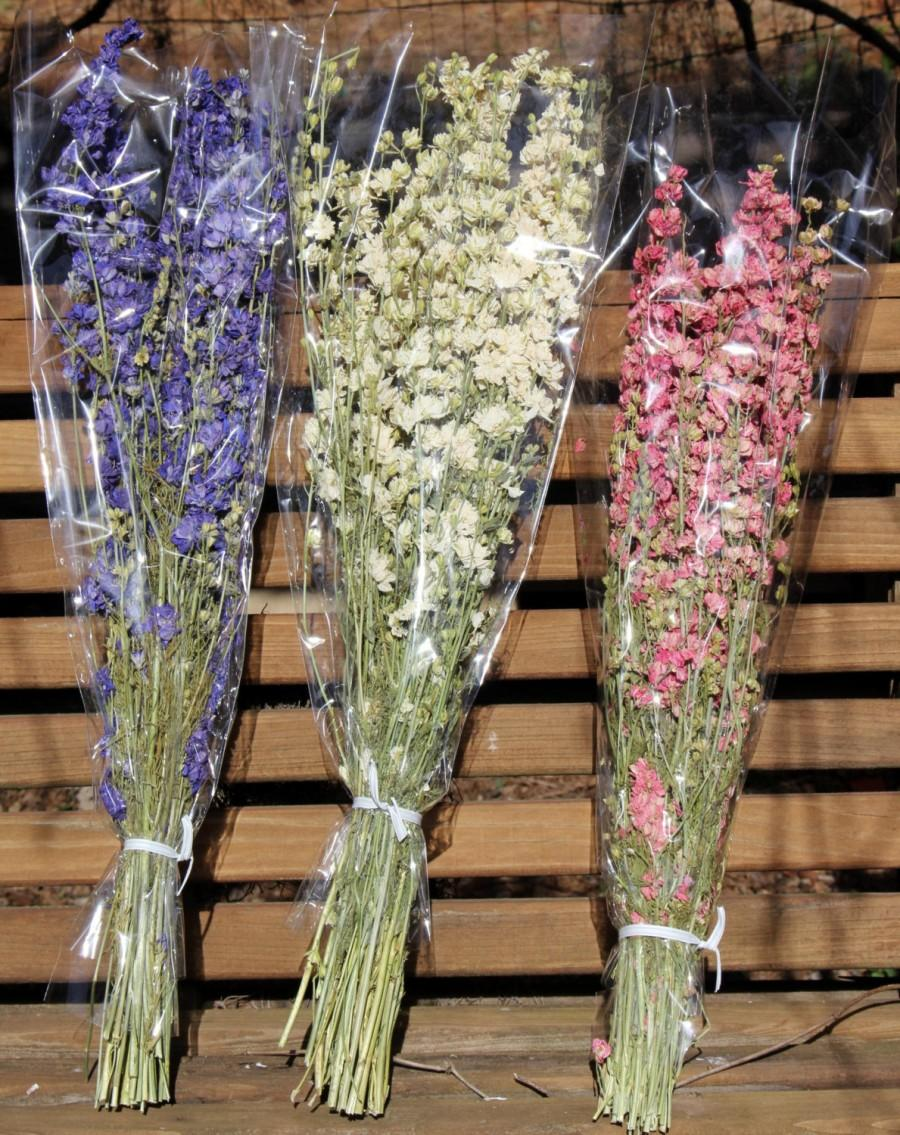 Свадьба - double bloom Larkspur dried stems-Blue-Pink-purple or White preserved flowers-4-5 oz bundles-Dried wedding floral in white