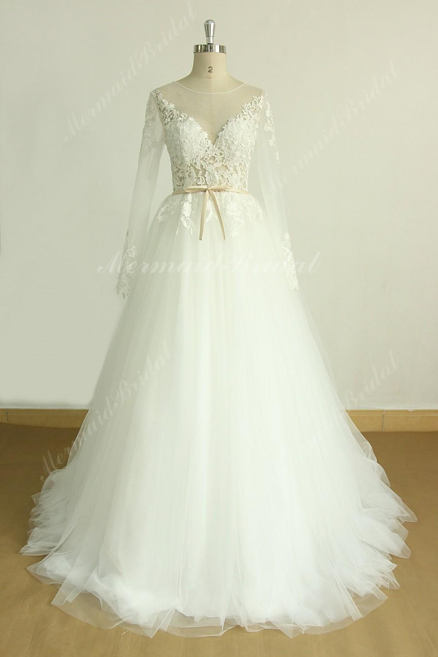 Wedding - Romantic ivory a line lace wedding dress with removable train and long sleeves