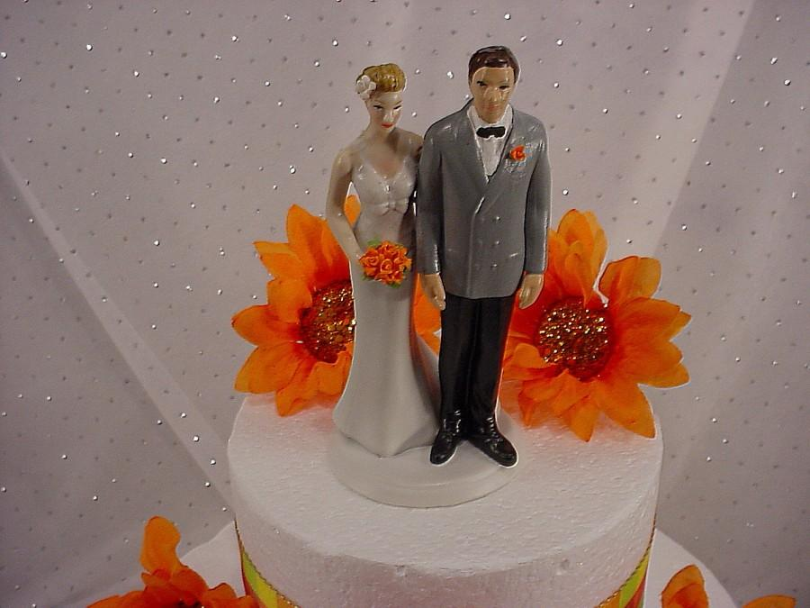 Love Pinch Bride And Groom Custom Wedding Caketoppers In Grey Jacket With Orange Flowers Fall Themed Weddings
