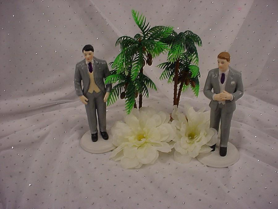 Mariage - Fashionable Groom Gay Same Sex 2 Grooms Wedding Cake Toppers- Grey Tux Groom Themed Weddings- Plum Grape Violet Purple Fall Wedding Decor