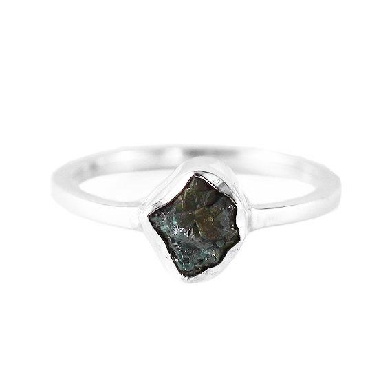 Mariage - Green Diamond Ring Uncut Rough Diamonds Unique Dainty Engagement Rings