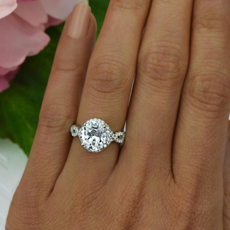 Mariage - 3.5 ctw Oval Twisted Halo Bridal Ring, Engagement Ring, Gatsby Wedding Ring, Infinity Ring, Man Made Diamond Simulants, Sterling Silver Ring