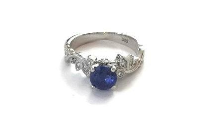Mariage - Leaves Blue Sapphire Engagement Ring, White Gold Ring, Leaf Ring, Sapphire Ring, 1 Carat Ring, Art Deco Ring, Vintage Ring,  Gem Ring