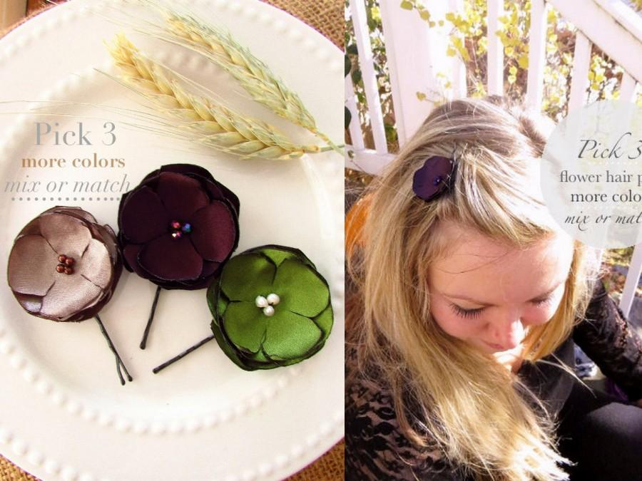 pick 3 fall wedding hair flowers fall fabric flower hair clips girl bridesmaid fall floral hair accessories hair pins satin small flower