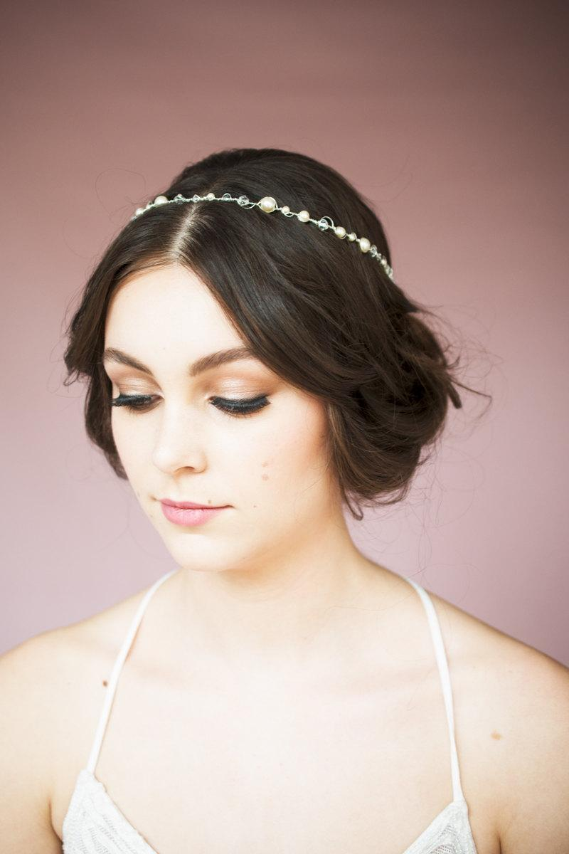 Mariage - Pearl Halo, Crystal Halo, Wedding Crown, Crystal Crown, Crystal Halo, Wedding Headpiece, Crystal headband, Ivory Headband, Stefana, CHRISTIE