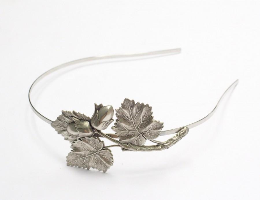 Свадьба - Autumn headband oak leaf acorn fall hair accessory woodland silver finish bridal hair accessory