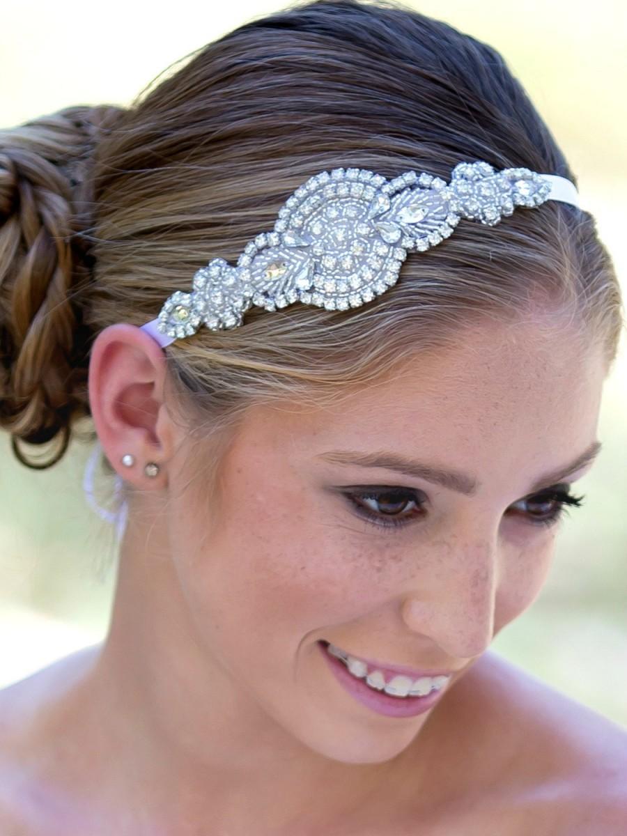 Rhinestone Bridal Headband, Crystal Bridal Hairpiece, Flower Girl ...