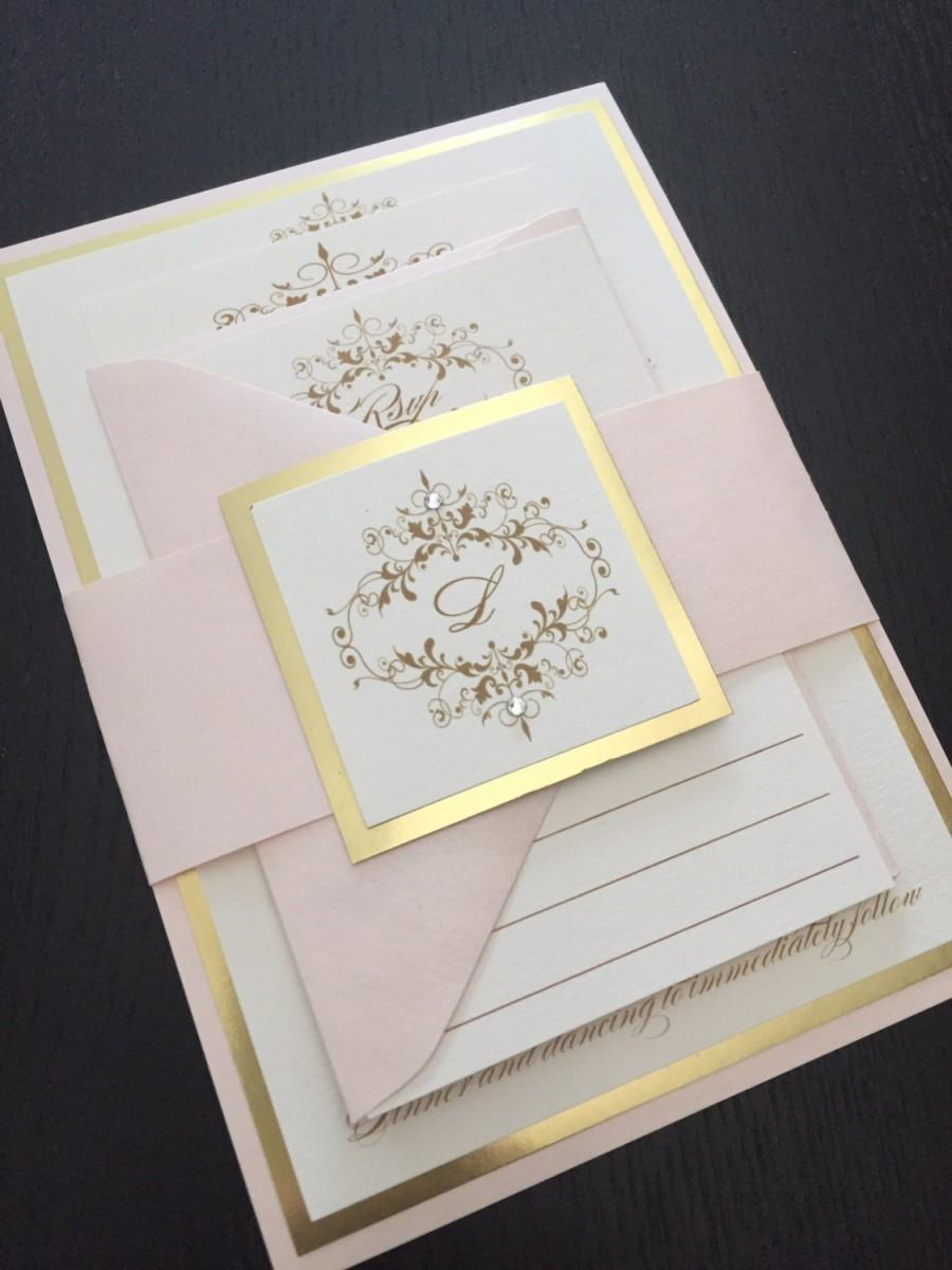 Wedding Invitations   Gold Wedding Invitation   Blush And Gold Wedding  Invitations   Free RSVP Envelope Printing