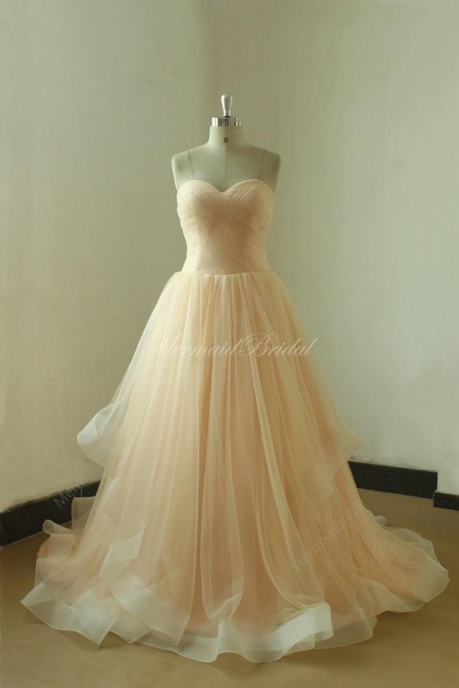 Mariage - Blush romantic A line wedding dress,prom dress