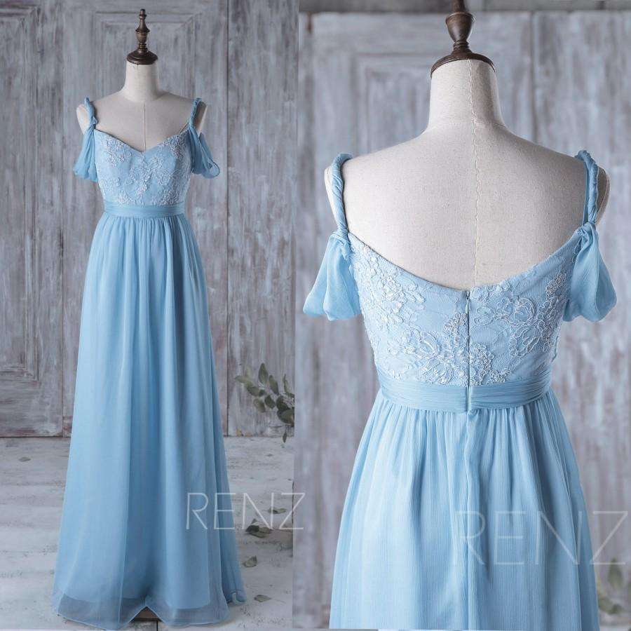 2016 light blue bridesmaid dress long white lace wedding for Light blue and white wedding dresses