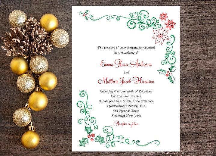 Mariage - Christmas Wedding Invitation, Mistletoe and Poinsettia Invitation - December Wedding Invitation