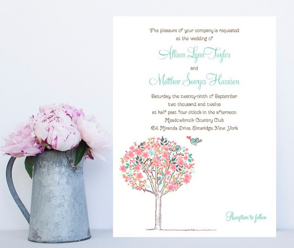 Wedding - Cute Wedding Invitation - Charming, Soft Floral Theme - Pink Wedding Invitation - Sweet Wedding Invitations