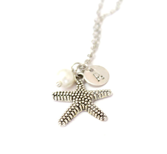 Wedding - Personalized Starfish Necklaces, Starfish Necklaces, Bridal Gift, Bridesmaid Necklaces, Starfish And Pearl Necklaces, Beach Wedding