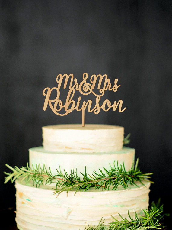 Mariage - Mr and Mrs Cake Topper Wedding Cake Topper Custom Last Name Mr and Mrs Cake Topper Gold Silver Cake topper