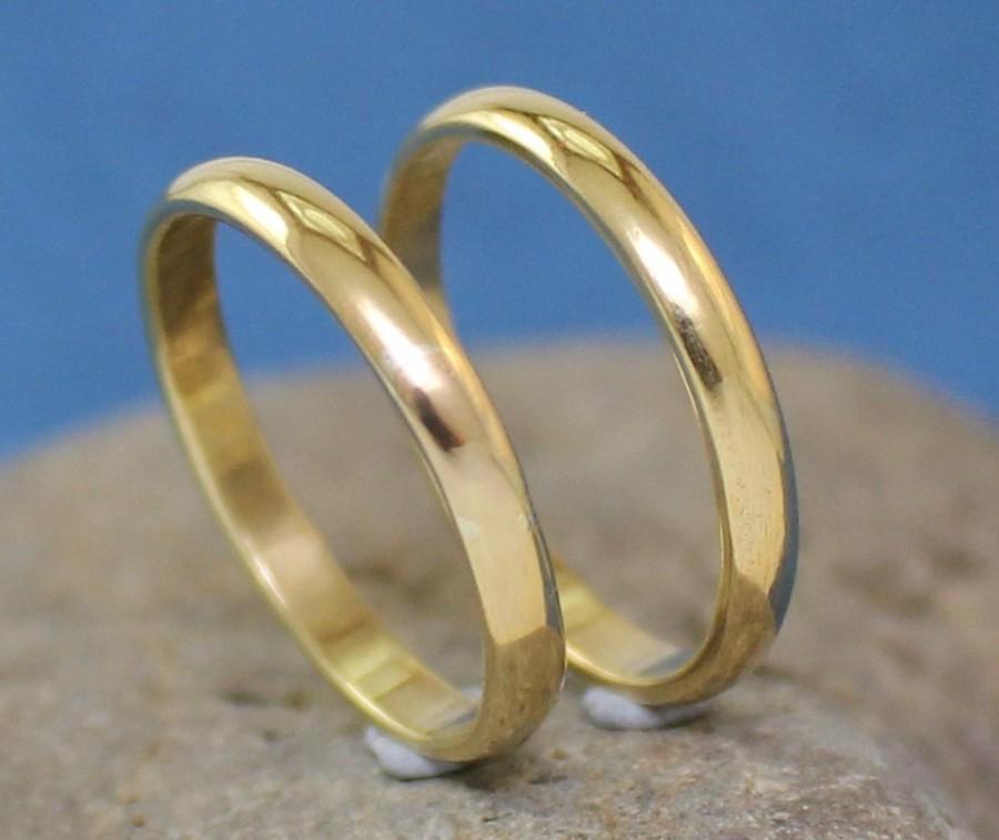 Mariage - Handmade brass Rings / Wedding Bands. Men's / Women's Rings.. Set of two Rings..