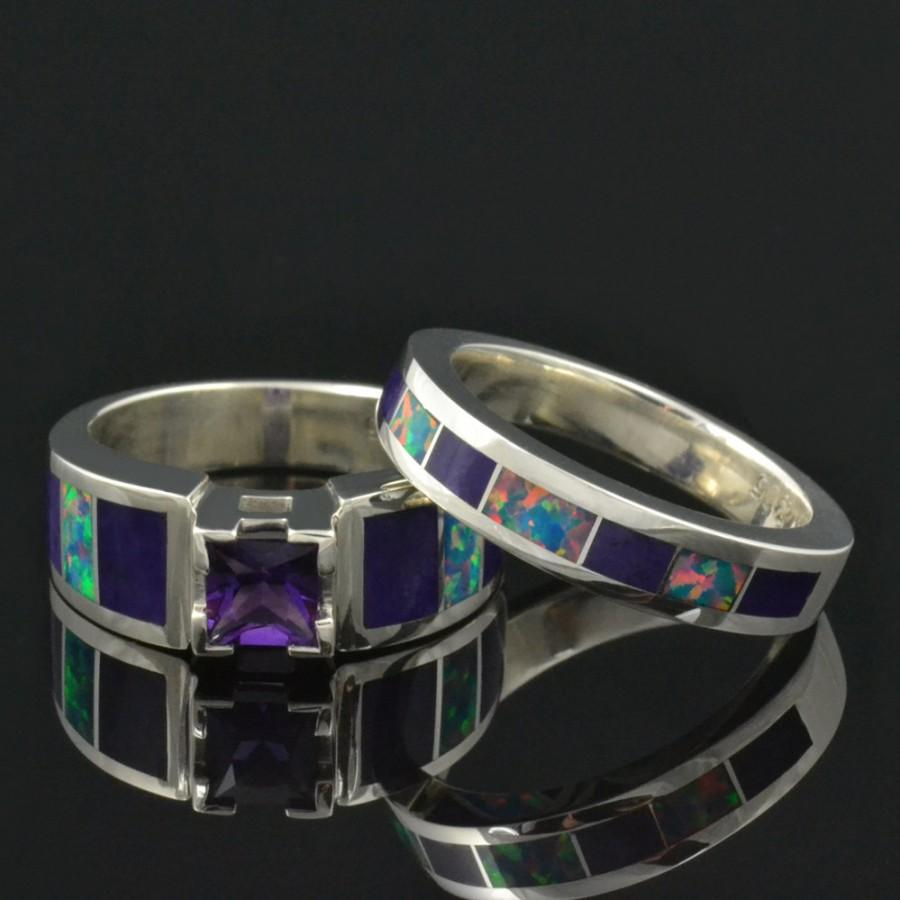 Wedding - Lab Created Opal Wedding Ring and Engagement Ring Set with Amethyst and Sugilite
