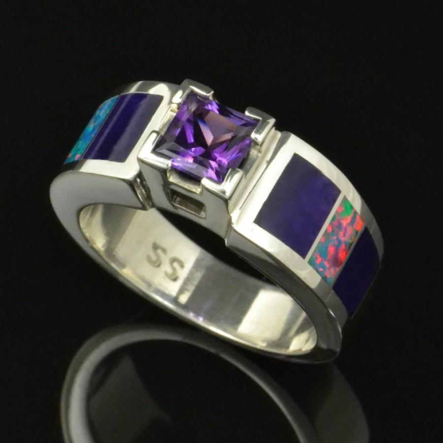 زفاف - Lab Created Opal Wedding or Engagement Ring with Amethyst and Sugilite