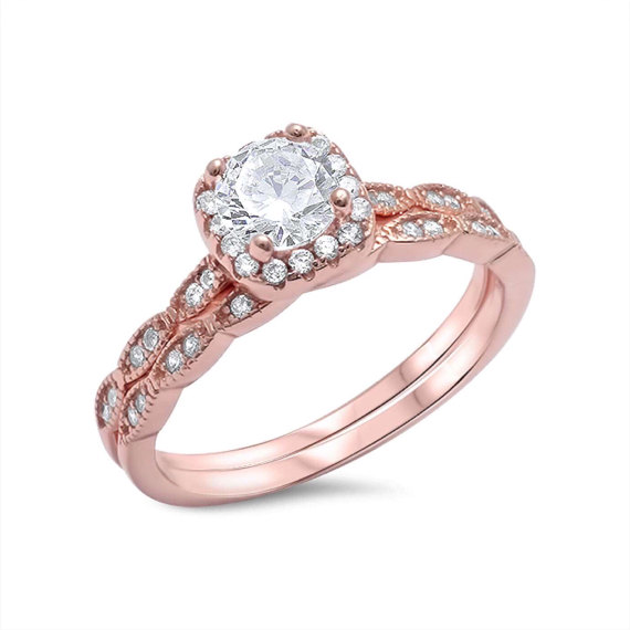 Mariage - Art Deco Ring Rose Gold HALO Engagement Ring Sterling Silver Round Cut CZ Stone Simulated Diamond Wedding Bridal Band Ring Set Size 4-11