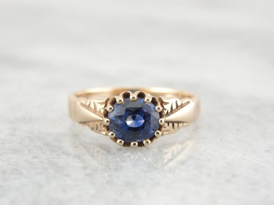 Mariage - Victorian Sapphire Engagement Ring, Antique Sapphire Solitaire Ring,  RVH8ME-P