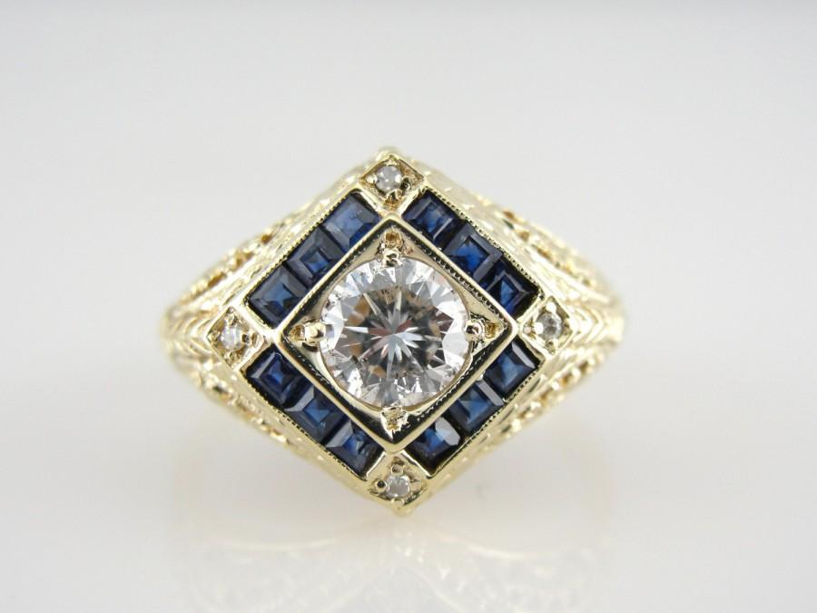 Wedding - Vintage Sapphire Ring, Green Gold Antique Filigree Mounting, Engagement Ring or Statement PIece XXLQ28-P