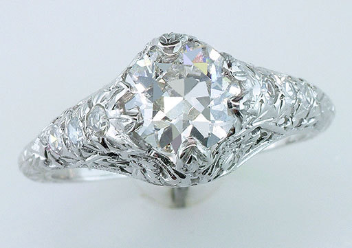 Mariage - Vintage Antique GIA Certified 1.35ct Diamond 18K White Gold Art Deco Engagement Ring