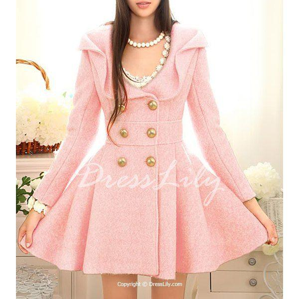 Mariage - Ladylike Turn-Down Collar Pink Peacoat