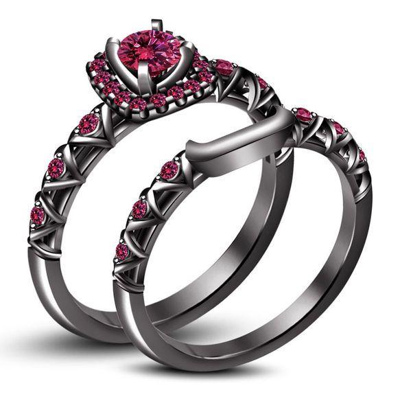 Свадьба - Pink Sapphire Black Bridal Engagement Ring