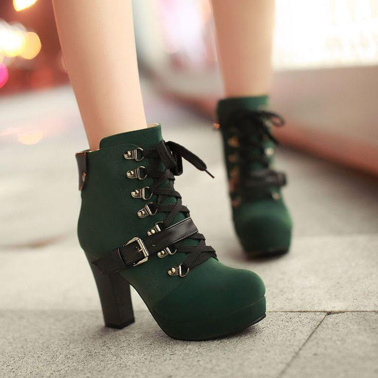 Mariage - Lace Up Buckle Block High Heels Platform Ankle Riding Boots