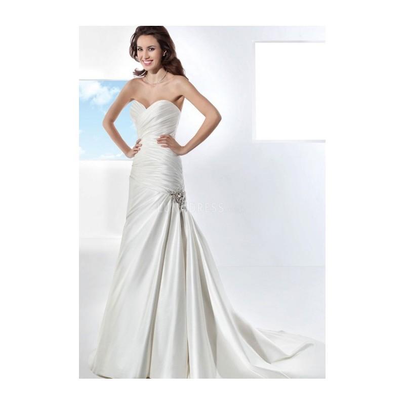 Wedding - Fit N Flare Sweetheart Taffeta Floor Length Chapel Train Wedding Dress With Ruching - Compelling Wedding Dresses