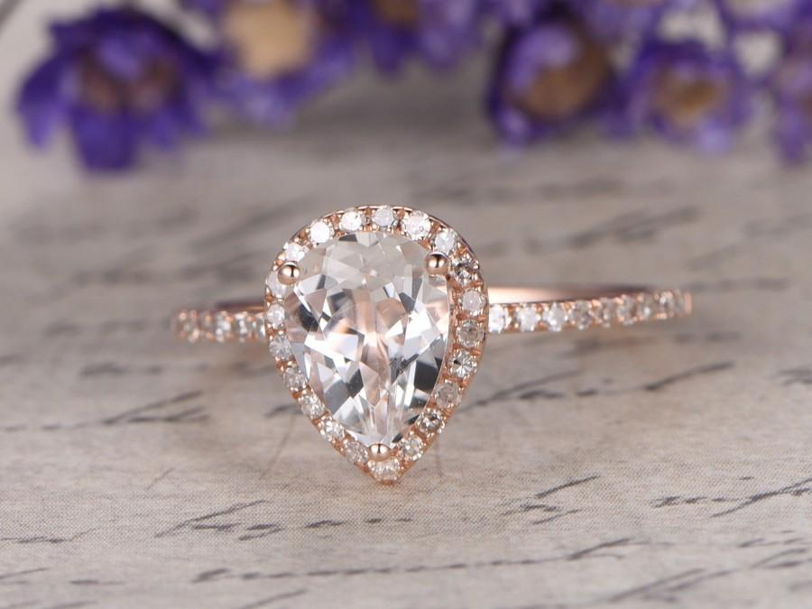 Свадьба - white Topaz engagement ring with diamond ,Solid 14k rose gold,promise ring,bridal,6x8mm pear cut custom made fine jewelry,pave set
