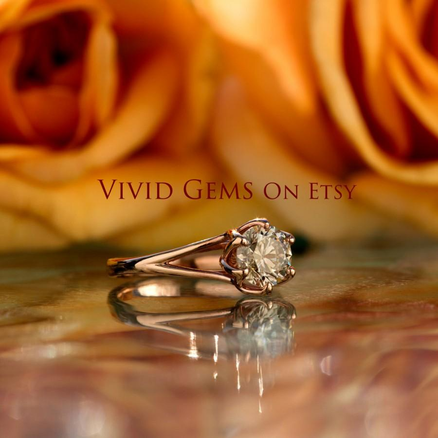 Mariage - Champagne Diamond Engagement Ring, Tulip Solitaire Ring, 14K Solid Rose Gold Ring, Natural Champagne Diamond 1.25 Carats