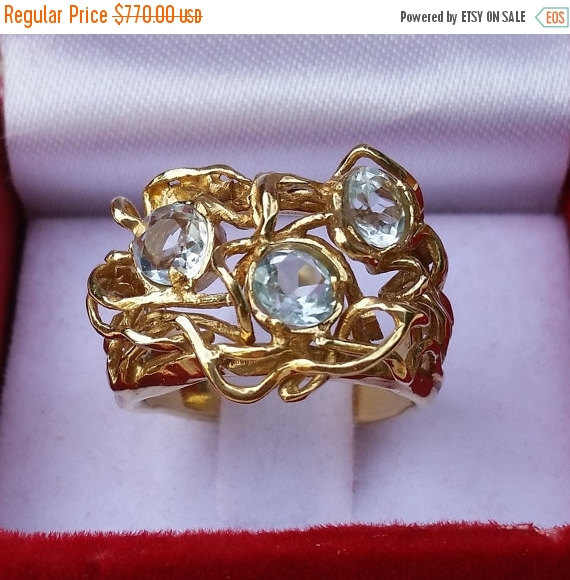 Hochzeit - On Sale Gold Ring 14K Yellow Gold Handmade Artisan Crafted Unique Gemstones  Blue Topaz Size 7 Women Bride Gold Jewelry Engagement Ring