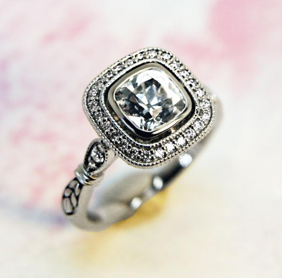 Mariage - Old Mine Cut White Sapphire and Diamond Vintage Style Halo 14K White Gold Engagement Ring