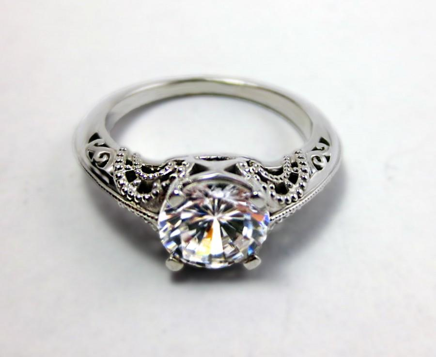 Свадьба - Art Deco Engagement Ring - Filigree Engagement Ring - 14K White Gold and Moissanite