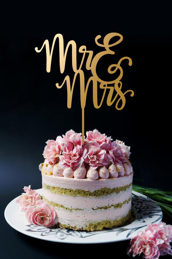 Свадьба - Wedding Cake Topper - Mr and Mrs Cake Topper A2025